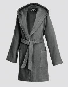 Frottier Kurzmantel mit Kapuze für Damen Graphite