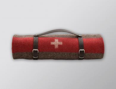 Eskimo Schweizer Armeedecke gerollt mit Ledergurt (braun)