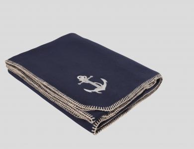 Eskimo Decke Luxusvelours Anker, marine