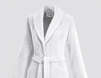 Frottier Bademantel mit Schalkragen und Innengürtel für Damen Weiss