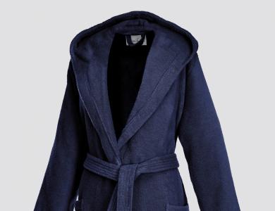 Frottier Kurzmantel mit Kapuze für Damen Night Blue